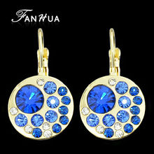 FANHUA Flash Deal Earrings Crystal Jewelry Brincos Gold-Color With Pink Blue Rhinestone Drop Earrings for Women