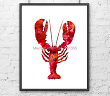 New beautiful kids children abstract bedroom home wall art decor red crab lobster art sea ocean animal print painting picture