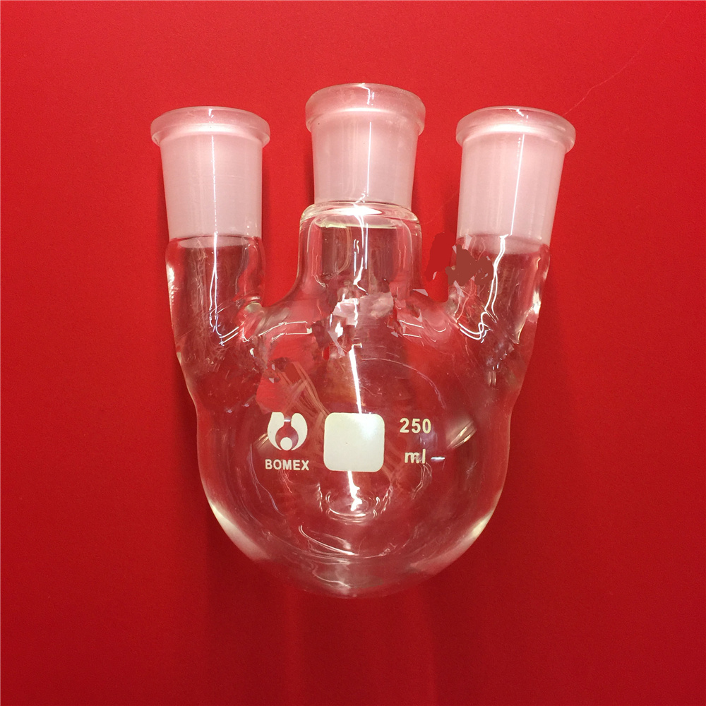 500ml,24/29*3,3-neck,Round bottom straight Glass flask,Lab Boiling Flasks,Three neck laboratory glassware<br>