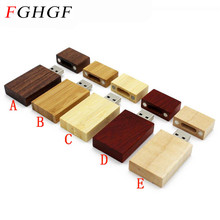 FGHGF Personality LOGO Wooden block USB Flash Drive red wood pendrive 4GB 8GB 16GB 32GB Pen Drive Memory Stick wedding gift
