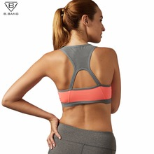 B.BANG Women Padded Yoga Shirt Sports Bra Push Up Dry Fit Tank Tops For Running Fitness Gym Bras Plus Size