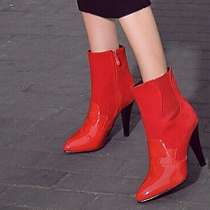 Lady big size(4 -12) leather velvet women boots pointed toe Mid- calf winter boot thin high heel boots black/beige/orange/red<br>
