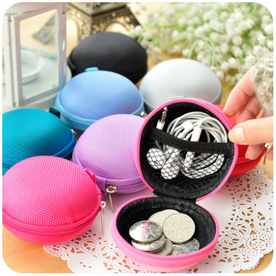 New Universal Portable Mini Round Hard Storage EVA Case Bag Earphone Headphone SD TF Cards Cable Cord Wire