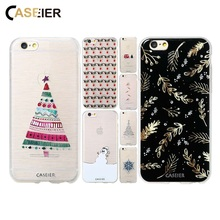 CASEIER Winter Christmas Case For iPhone 8 7 6 6s Plus 5 5S SE Cartoon Snowman Back Cover For Samsung Galaxy S6 S7 Edge Shells