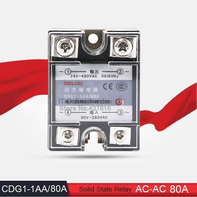 High Quality AC-AC 80A Solid State Relay Single Phase SSR  Input 80-280VAC Output 24-480VAC (CDG1-1AA/80A)<br><br>Aliexpress