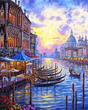 New Style Venice 40*50CM DIY cuadros coloring Oil Painting On Canvas Pictures Painting By Numbers Home Decoration Venice 40X50CM(China)
