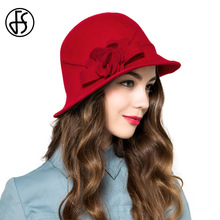 FS Fashion 100% Wool Felt Hats For Women Ladies Elegant Flower Floppy Church Chapeu Fedoras Winter Ladies Red Bowler Hat