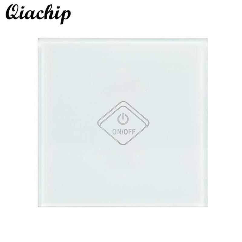 QIACHIP AC 220V UK Plug WiFi Smart Switch 1 Gang 1 Way Light Wall Touch Sensor Switch APP Remote Control Work With Amazon Alexa<br>
