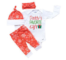 4PCS Set Christmas Newborn Infant Baby Boy Girl Clothes Daddy's Favorite Gift Romper Bodysuit Pant Hat Headwear Outfit XMAX Suit