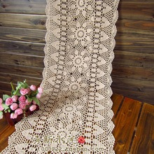 Free shipping  white Biege rectangle crochet hook cotton flowers lace table runner for wedding table overlay vintage cutout