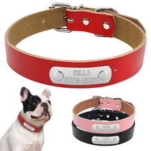 Leather Personalized Dog Collars Custom DIY Cat Pet Dog Collars Engraved Free XS-L Sor Small Medium Breeds(China)