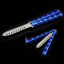 Hot! High-Quality Stainless Steel Practice Metal Butterfly knife Steel Trainer Training Dull Kniives Cool Sport Blue color Toys(China)