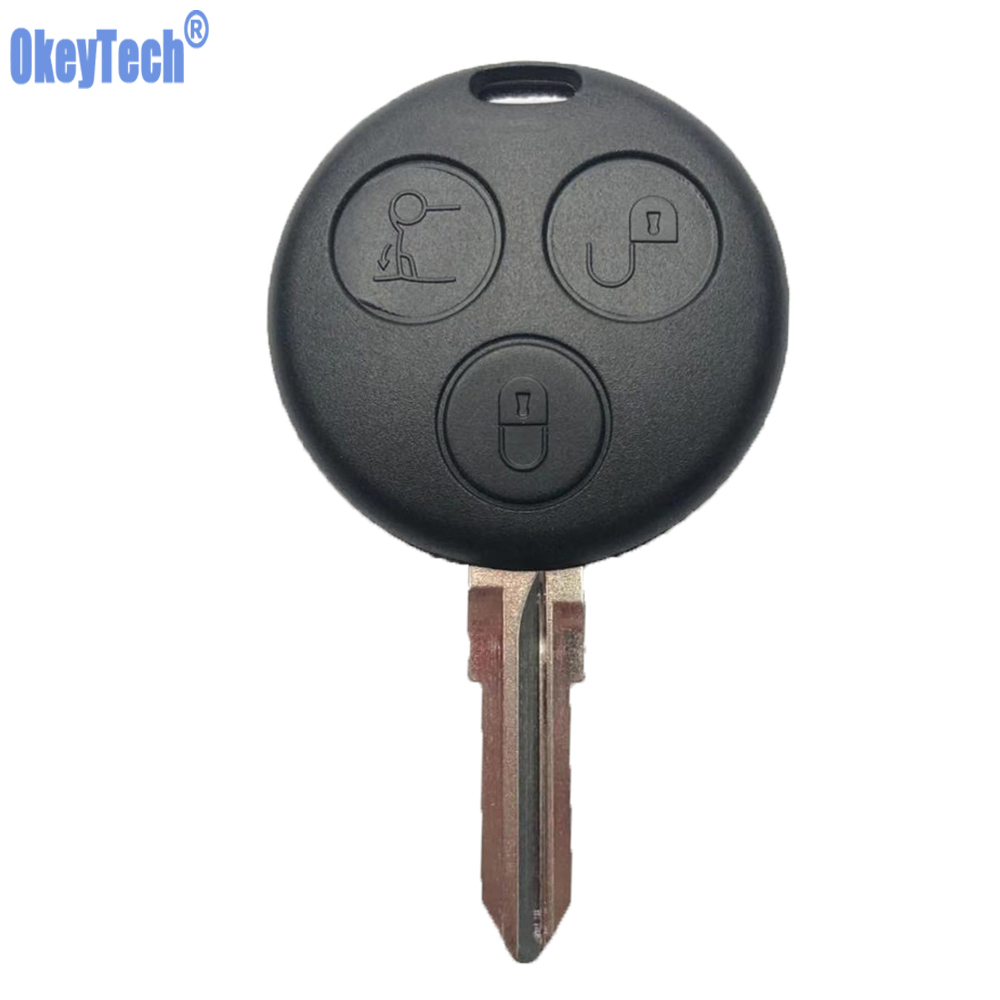 OkeyTech Replacement Car key For Mercedes Benz SMART Fortwo 450 Forfour Roadster Case 3 Button Blank Blade Remote Key Shell Fob(China)