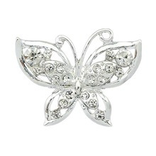 Korean Version Small Silver Plated Collar Crystal Butterfly Brooch Charming Accessories Drop Shipping