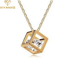 Promotion Fashion Top Quality Rose Magic Cube 0.75MM Zircon Pendant Charm Necklace For Lady XY-N279(China)