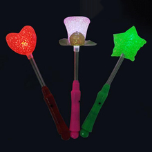LED Flashing light up stick Colors Glow Rose Star Wand Party Concert Favor