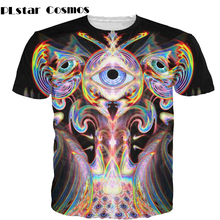 PLstar Cosmos Women/Men Unfolding Vision T-Shirt 3d colorful three eyes with a psychedelic trippy t shirt unisex t-shirt vibrant