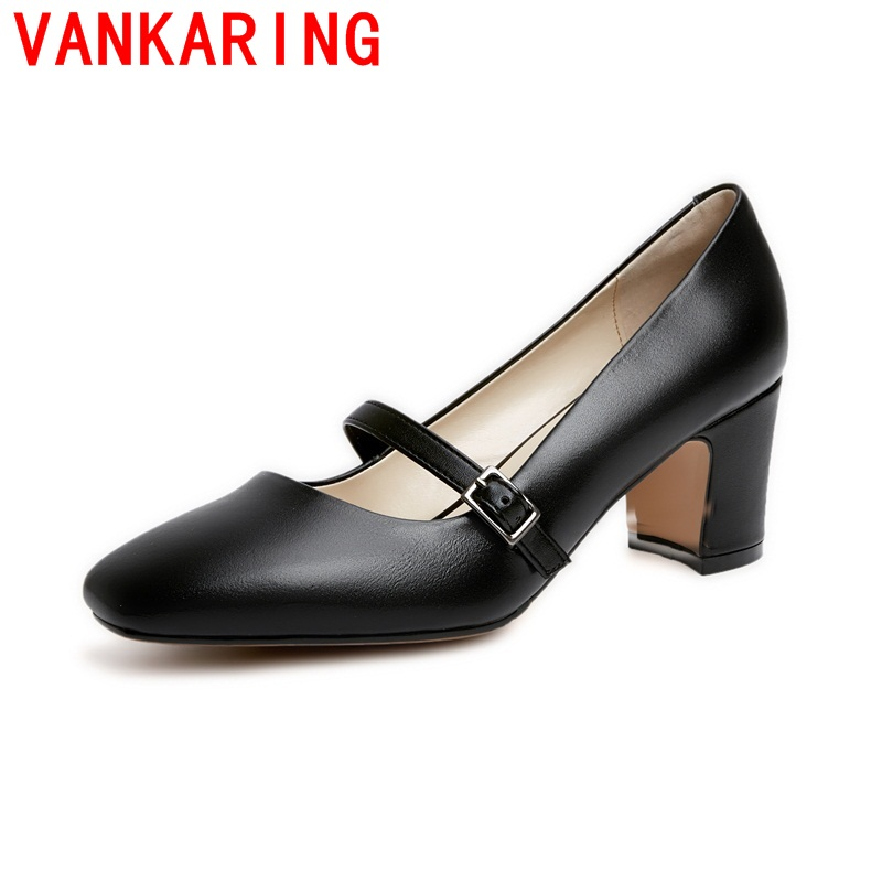 VANKARING shoes 2017 fashion style women shoes modern black square toe metal buckle decoration comfortable hoof heels shoes <br><br>Aliexpress
