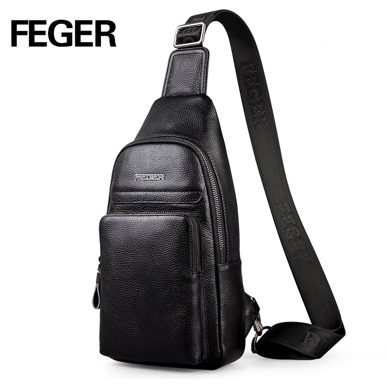 2017 FEGER fashion genuine leather sling bag men casual travel chest pack solid cowhide crossbody bag free shipping<br><br>Aliexpress