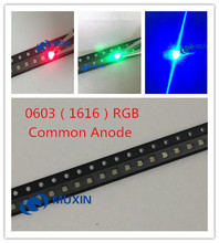 100pcs 0603 (1616) RGB LED Common Anode Tricolor Red Green Blue 0606 Surface Mount Chip SMD SMT LED Light Emitting Diode Lamp(China)