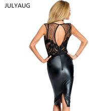 Buy Summer Dress 2017 Latex New Robe Femme Sexy Sheer Lace Dress Open Back Patchwork Knee Length Bodycon Evening Party Black Dress