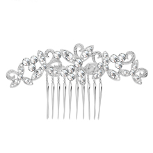 Sparkly Rhinestone Crystal Leaf Flower Hairpins Silver Color Wedding Tiara Bridal Hair Combs Women Wedding Hair Accessories(China)