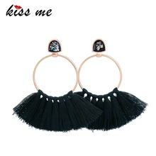 KISS ME Women Big Earrings Trendy Deep Green Rope Tassel Drop Earrings Ethnic Jewelry Accessories(China)