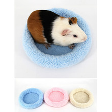 New Soft Velvet Fleece Guinea Pig Bed Winter Warm Mice Rats Rabbit Hamster Round Mat Small Animal Cage Sleeping Bed 3 Colors