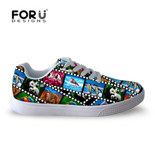 FORUDESIGNS Designer Women Shoes Spring Autumn Flat Walking Shoes for Ladies Cool Printing Shark Dolphin Female Board Shoes