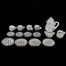 New Arrivals 2015 Dollhouse Miniature Dining Ware Porcelain Tea Set 15pcs Daisy Pattern Free Shipping(China)