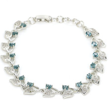 2017 New Arrival London Blue Topaz Woman's Wedding 925 Silver Bracelet 8.0inch 10x10mm(China)