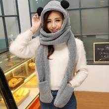 Cute bear hats with ears cartoon animal plush warm cap Girls hooded gloves pocket earflap long scarves Snood wraps high quality