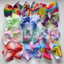 retail Least JOJO 8'' grosgrain ribbon hair bows hair clips boutique rainbows bow girls hairbow For Teens Gift 1pcs(China)