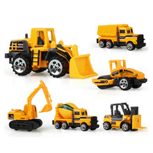 6Pcs/Set Dump Truck Technical Vehicle Model Mini Tractors Engineering Van Artificial Car Kids Children Gift Toy Excavator Rooter