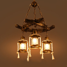 Chinese style retro resin chandeliers bars restaurants tea houses American style antique wooden chandeliers free shipping(China)