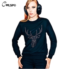 CWLSP Fashion Women Sweatshirt Hoodies Christmas Deer Print Black Casual High Quality Pullover women sudaderas mujer 2017 QA1573