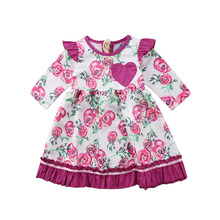 2017 Long Pageant Purple Heart Dress Toddler Baby Cotton Long Sleeve Princess Party Dresses(China)