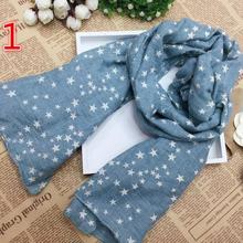 New 2016 Autumn Fashion Kid's Pink Blue Star Long Soft Cotton Shawl Scarf 6Color