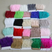 4-6inch multicolor natural ostrich feather trim 2yard/lot ostrich plume fringe trims clothing accessories supplies 10-15cm