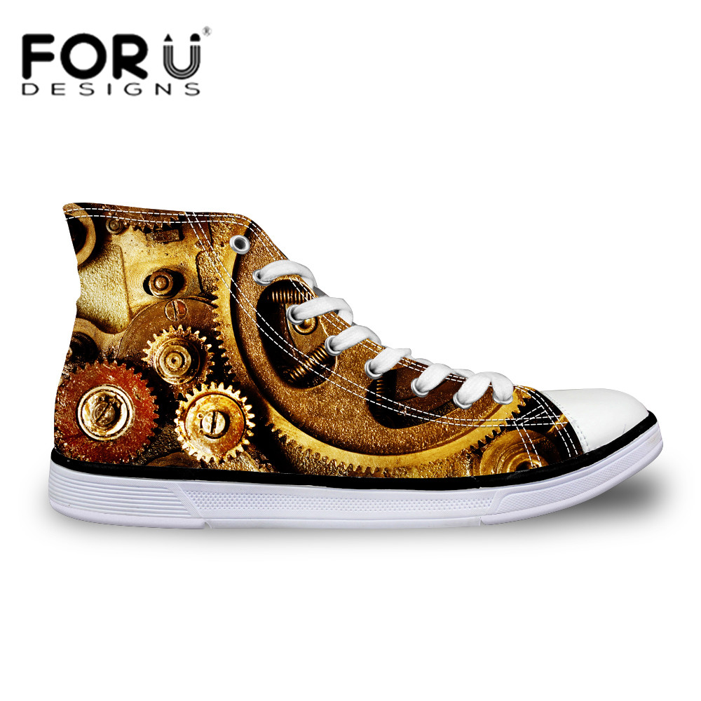 FORUDESIGNS Fashion Punk Canvas Shoes for Men New High Canvas Shoes Lace-up Flats Leisure Shoes College Student Top Lovers Shoes<br><br>Aliexpress