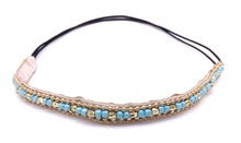 Women Bohemian Turquoise Seed Beads With Gold Ccb  Rhinestone Braided Knitted Flower Handmade Elastic Headband Hair Accessories
