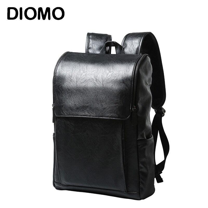 DIOMO 2017 Men Backpack Vintage Black Solid PU Leather Male Backpacks Travel Bagpack for Teens<br>
