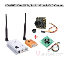 Wireless FPV Aerial Video Telemetry 800mW 900MHZ 4CH Transmitter 12CH Receiver Audio Video Transmission & 1/3-inch CCD Camera
