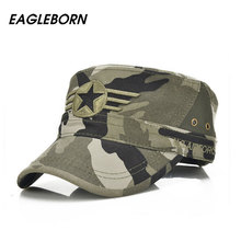 Eagleborn 2017 Army Flat Top Mens Caps Hat Adjustable Star embroidery Solid Cotton Cap Baseball Casual Military Hats For Men(China)
