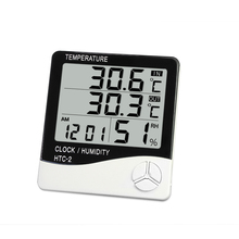 HTC - 2 LCD Digital Thermometer Hygrometer Indoor Outdoor Electronic Temperature Humidity Meter Alarm Clock Weather Station(China)