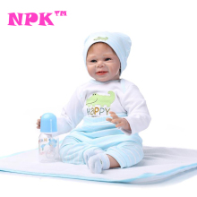 NPK 55CM De Silicone Doll Reborn Baby Boys Lifelike Real Touch New Born Babies Dolls Toys Soft Cloth Body Handmade Menino Boneca