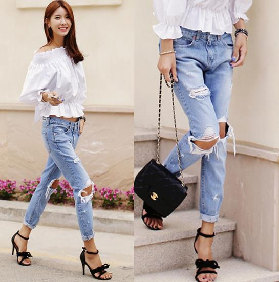 2015 New Fashion Cotton Knee Hole Jeans Women Loose Trousers Low Waist Washed Vintage Big Hole Ripped Long Denim Pencil PantsОдежда и ак�е��уары<br><br><br>Aliexpress