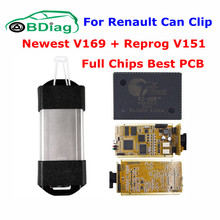 DHL Free For Renault Clip V169 + Reprog V151 Gold CAN Clip Full Chips Cypress AN2131QC Best For Renault Car Diagnostic Interface