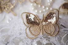 10 pieces gold butterfly lace applique, metallic gold sequins butterfly lace trim, BU004