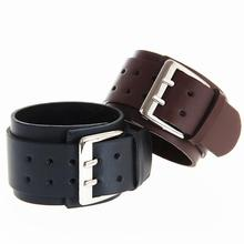 saatleri 1 PC Hyperbole Retro Wide Bracelets Leather Punk Big Double Buckle Wristband Beads & Bangles Wristlets With Belt Shaped